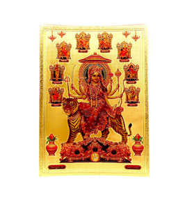 Postal Durga - detalles dorados