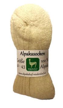 Alpaka-Bettsocken (Naturweiß) mit Plüschsohle