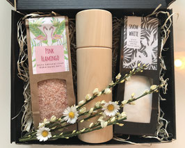 GIFT BOX - 2 pure natural salts with Rose Himalayan salt, white Halit salt and a salt mill made of Swiss stone pine wood