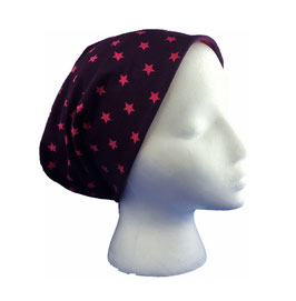 Wende-Beanie Sterne lila/pink