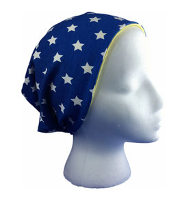 Wende-Beanie Sterne blau/gelb