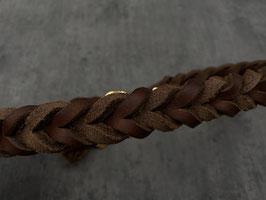 Halsband Fettleder geflochten