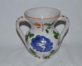 Vase mit zwei Henkel weiß-blau-grün