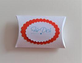 "Pillowbox ""Für Dich"" weiß-rot"