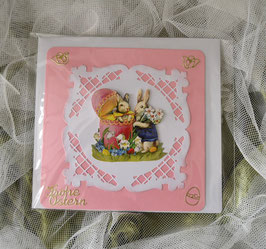 Karte rosa-weiß, 14 x 14 cm