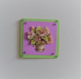 """Glückwunschkarte grün-flieder (1) """"Blumenstrauß im Topf"""""""