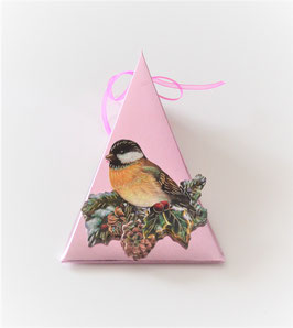 Weihnachtsbox Dreieck mit Vogelmotiv