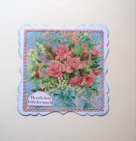 Herzlichen Glückwunsch mit Blumenstrauß