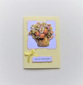 """Glückwunschkarte gelb """"Danke fürs Blumengießen"""""""