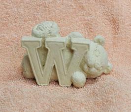 """Buchstabenbär """"W"""" weiß"""
