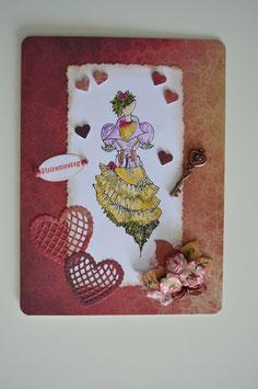 Valentinstagkarte rot-beige