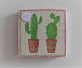 """Servietten """"Kaktus"""" in Geschenkbox mit Schild """"Liebe Grüße"""""""
