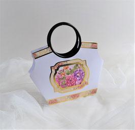 Geschenktasche weiß-bunt mit Blumenmotiv