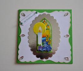 Glückwunschkarte zur Konfirmation grün-silber