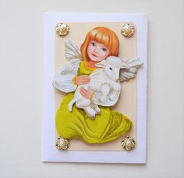 Osterkuvert weiß-creme Engel mit Lamm
