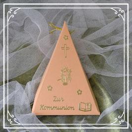 Dreieckschachtel zur Kommunion in lachs-gold