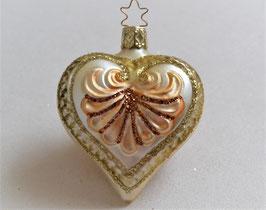 Herz creme-gold-bronze