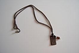 Leder-Halskette dunkelbraun/silber