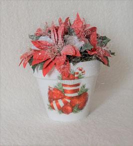Weihnachtsgesteck in weiß-rot