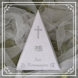 Dreieckschachtel zur Kommunion in rosa-silber