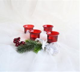 4 Teelichtgläser rot