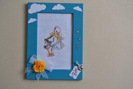 Malvorlage Storch mit Baby blau