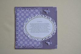 Karte mit Gedicht lila-karo