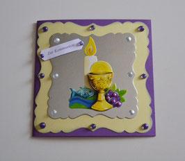 Glückwunschkarte zur Kommunion lila-gelb-silber