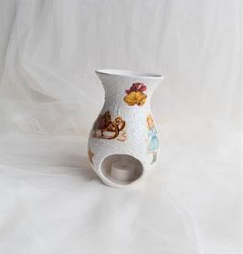 Teelicht-Keramikvase weiß-bunt