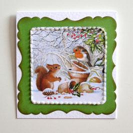 Geschenkkuvert Eichhörnchen mit Vogel weiß-grün
