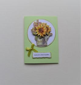"""Glückwunschkarte grün """"Danke fürs Blumengießen"""""""