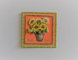 """Kleine Glückwunschkarte """"Alles Liebe"""" grün-orange"""