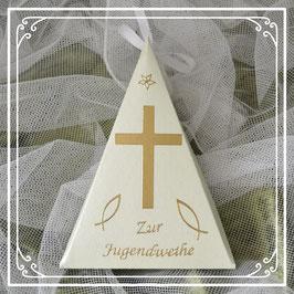 Dreieckschachtel zur Jugendweihe in hellgrün-gold mit Kreuz