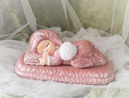 Baby auf Kissen rosa-weiß mit Spieluhr