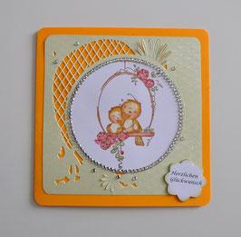 """Verlobungskarte """"Herzlichen Glückwunsch"""" orange-grün"""