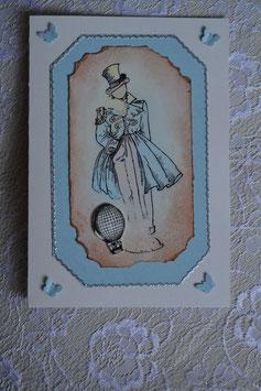 Männerkarte hellblau-beige