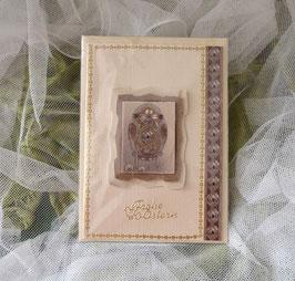 Karte creme-lila mit 3-D Motiv Faberge Ei, 11,5 x 16,5 cm