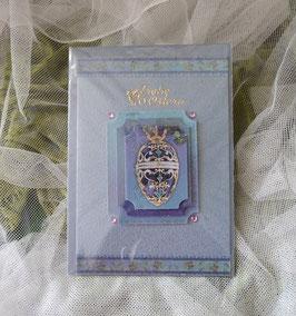 Karte blau mit 3-D Motiv Faberge Ei, 11,5 x 16,5 cm