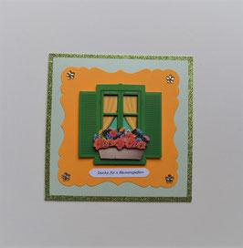 """Glückwunschkarte grün-orange """"Danke fürs Blumengießen"""""""