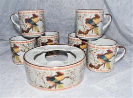 Teeservice mit Vogelmotiv