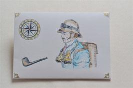 Kuvert Mann mit Fernglas
