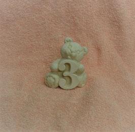 "Zahlenbär ""3"" weiß"