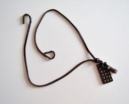 Leder-Halskette dunkelbraun/schwarz