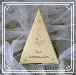 Dreieckschachtel zur Kommunion in beige-gold