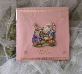 Karte rosa-gold, 16 x 16 cm
