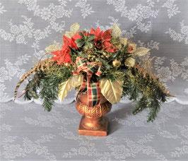 Großes Weihnachtsgesteck im Keramikpokal