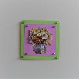 """Glückwunschkarte grün-flieder (2) """"Blumenstrauß in Vase"""""""