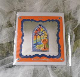 Glückwunschkarte zur Konfirmation orange-blau-silber