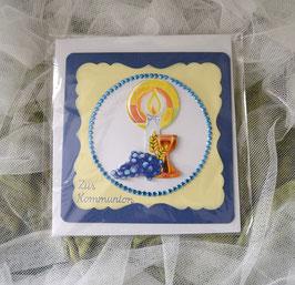 Glückwunschkarte zur Kommunion blau-gelb