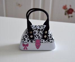 Handtaschendose weiß-schwarz-rosa